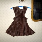 Vintage 40 forties brown plaid pinafore jumper dress for a larger little girl