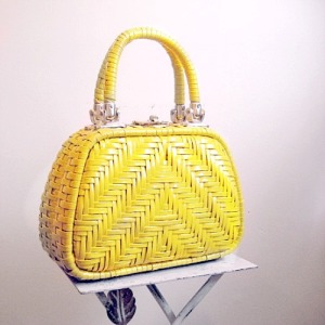 60s vintage sunny yellow basket purse